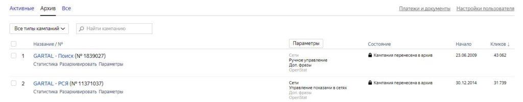 Старые рекламные кампании Яндекс.Директ