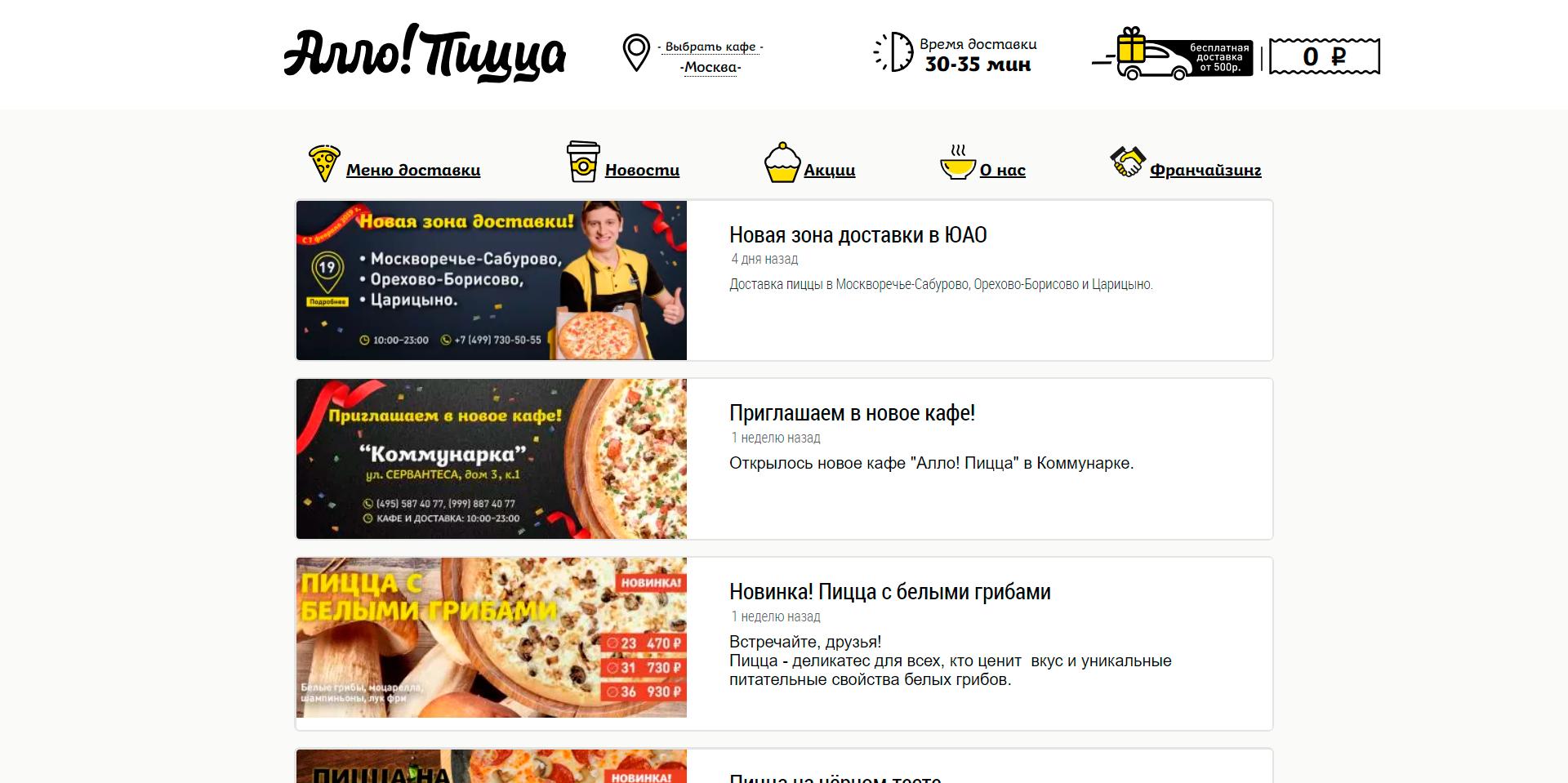 Настройка контекстной рекламы для сети доставки еды Алло!Пицца